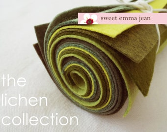 The Lichen Collection - 9x12 Sheets of Felt - 8 Shades of Green Wool Felt Sheets