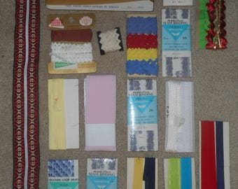 Vintage Sewing Trim & Zippers - Multicolored and Miscellaneous