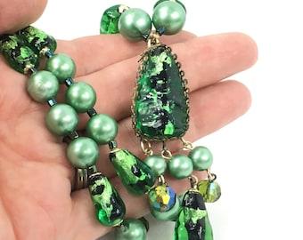 Bohemian Glass Art Deco Bead Necklace Antique Foil Glass Bead Necklace Rare Beauty