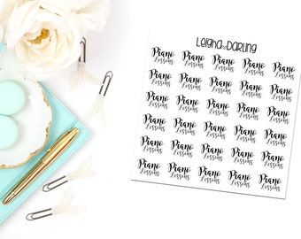 Hand Letter Piano Lesson Planner Stickers