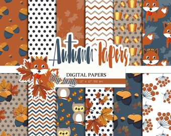 60% OFF SALE! Fox Fall digital paper, Autumn Digital paper, autumn pattern, leaves pattern, Scrapbook Paper, Printable Background, 12 JPG.