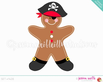 Instant Download Cute Gingerbread Pirate Digital Clipart, Cute Gingerbread Clip art, Gingerbread Pirate, Gingerbread Illustration, #1428