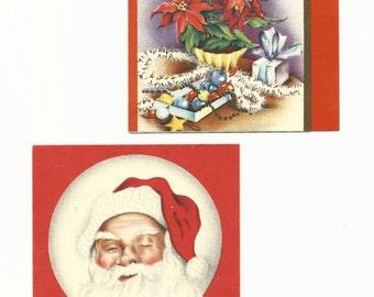 Vintage Christmas Cards Christmas Joy, Set of 2, Holiday Cards, Santa, Presents, New Year, Ephemera