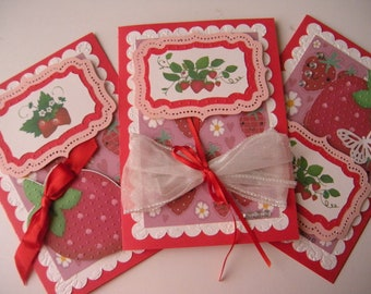 5x7 Sherbert and Strawberries Handcrafted Cards
