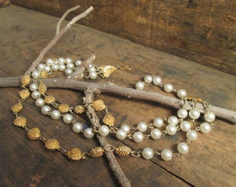 Vintage Gold Tone Triple Pearl and Gold Bead Wire Necklace