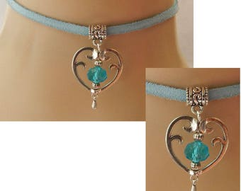 Blue Heart Choker Necklace Handmade Adjustable new Silver Accessories Suede Cord Beaded