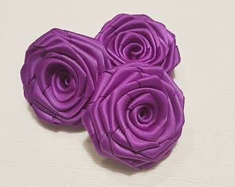 Purple ribbon roses, flower headband, embellishment