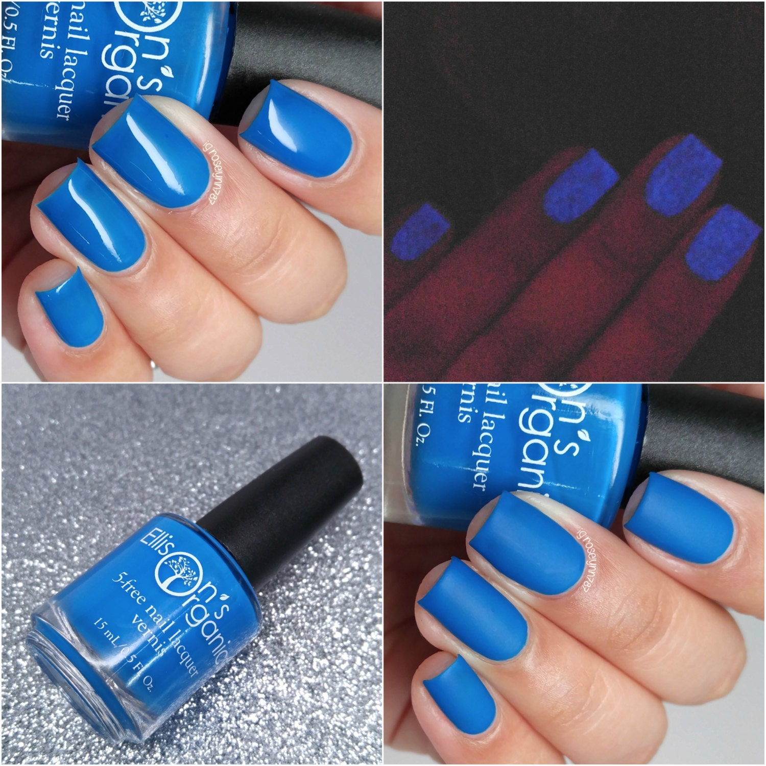 MATTE Neon Blue Nail Polish Glow-in-the-Dark Vegan Neon