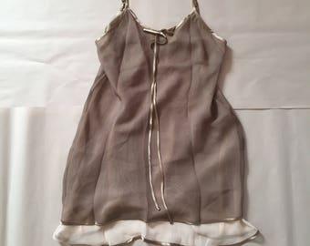 CACIQUE Paris mocha and cream slip dress | double mesh layering slip dress