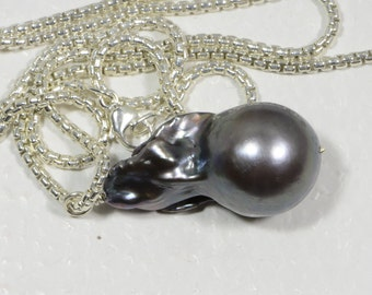 Single Pearl On Sterling silver chain Irregular Pearl Kasumi  Freshwater Pearl Exotic Birthstone June