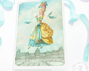 Marie Antoinette card, flying over the Paris roof tops, birthday card, friendship card, blank all occasion card
