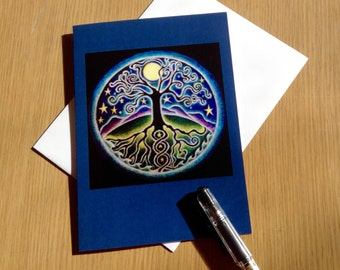Mandala Greeting Card - Tree of Life -Starry Night - Autumn Equinox