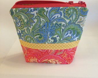 Zippered Cosmetic Pouch - multi paisley