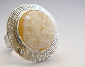 Druzy Agate Sterling Silver 18 Karat Gold Zen Satellite Ring Yellow White Gemstone Ring Mixed Metal
