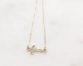 FAITH | Gold Sideways Cross Necklace | Cross Necklace Gold | Gold Filled Hammered Cross Necklace | Sideways Cross