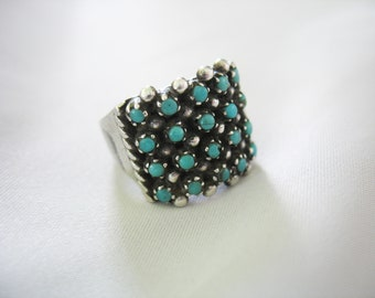 Snake Eye Turquoise Ring, Petit Point, Native American, Navajo, 1940s, Size 7, Sterling Silver, Aged Patina