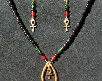 Ankh Earring and Necklace Set