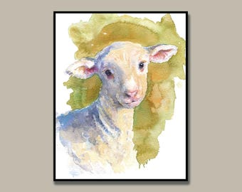 Spring Lamb Watercolor Art Print - Print from original painting, Nursery Art, lamb, sheep, nursery art, farm animals, green, spring, baby