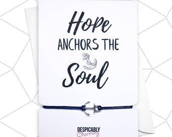 Hope anchors the soul, Anchor bracelet, Hope bracelet, Quote bracelet, Bible verse, Nautical gift, Nautical bracelet, father's day