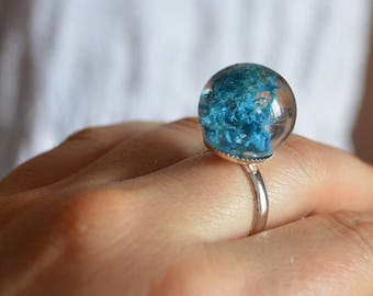 resin ring blue ring real moss jewelry girl gift under 30 victorian ring moss terrarium blue jewelry gift for wife resin jewelry moss ring