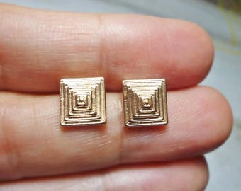 Textured Pyramid Stud Earrings, Square Pyramid Earrings