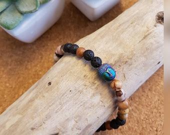 Brown Zebra Jasper Focus Mala Diffuser Bracelet with Buddha