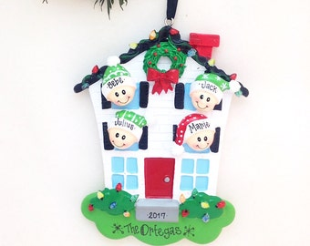 4 Family Member Personalized Christmas Ornament / Our New Home / Personalized Ornament / 4 Family Members in a Happy Home