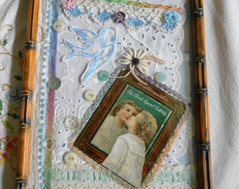 Sweet BLUEBIRD & CHILD Fabric Art Collage Scrappy Stash Mothers Day Trims Buttons Eyelet, Bubble Glass Frame Altered Edwardian Trade Card