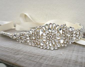 Bridal belt, bridal sash, great gatsby, vintage bridal sash, sash belt, rhinestone sash, crystal sash, wedding dress belt, dress sash, uk
