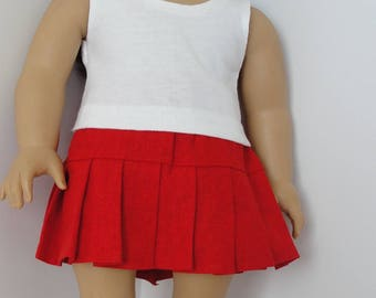 White t shirt. Red pleated skirt.  18 inch doll like American girl doll.  American handmade.  Christmas gift. birthday gift.  Girls gift.