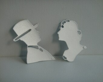 Cut 100% recycled brick milk silhouette couple for scrapbooking and card