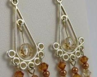 Dangle Earrings in Swarovski Crystal and Copper Beads in a Silver Frame