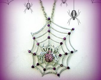 50% SALE Halloween Necklace..Halloween Jewelry..Spider Web Necklace..Purple Spider Pendant..Spider Necklace..Spider Jewelry..Witch Jewelry