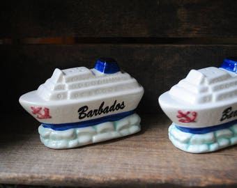 "Nautical vintage 70s,  boat  shape , hand painted,porcelain set of the salt and pepper shakers""Barbados""."