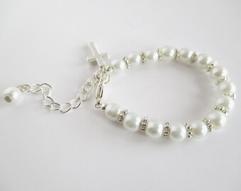 Baptism Bracelet, Baby Bracelet, Christening Bracelet, Baptism Gift, Christening Gift, First Communion, Cross Bracelet, Communion Bracelet