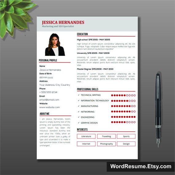 Clean Resume Template CV Template Modern Resume Template