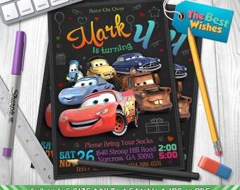 Cars Invitation, Cars Birthday Party, Lightning McQueen, Tow Mater, Disney Pixar Cartoon, Personalized, Printable, Chalkboard, Digital File