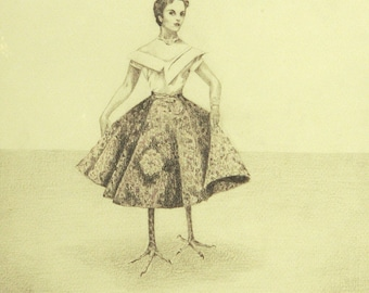 Surreal Drawing Bird Lady, Human Bird Hybrid, Limited Edition Print of Pencil Original