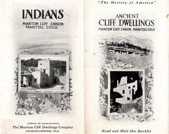 1910s Manitou Colorado Travel Brochure, Ancient Cliff Dwellings