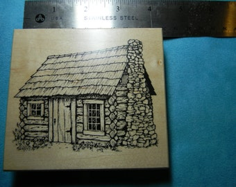 PSX Heirloom Collection - Limited Edition - HC 1714 Rubber Stamp - Log Cabin - Made in USA