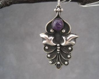 Amethyst Pendant - Silver Arabesque Pendant - Amethyst Birthstone - Moroccan Inspired- amethyst Jewelry - February Birthstone