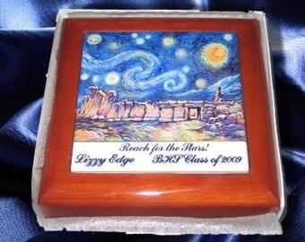 Wooden Keepsake Box  with Ceramic Photo Tile