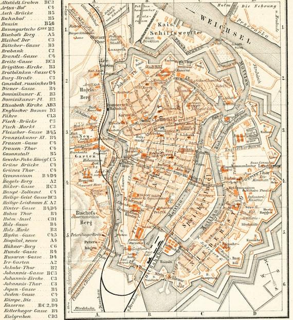 Gdansk map Danzig city map Gdansk old city plan Polish city
