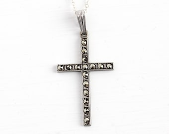 Vintage Sterling Cross - Silver Large Marcasite Religious Necklace - Mid Century WWII Christian Crucifix Catholic Statement Pendant Jewelry
