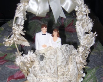 Sweet Chic 1940s  Wedding Cake Topper Bride Groom Made of Chalk Ware
