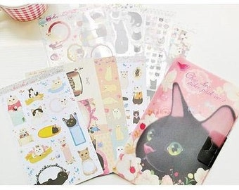 Choo Choo cat adhesive Stickers Set Paper and PVC with folder 8 Sheets SS471