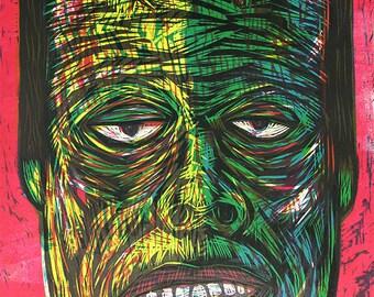 Frankenstein Color woodcut