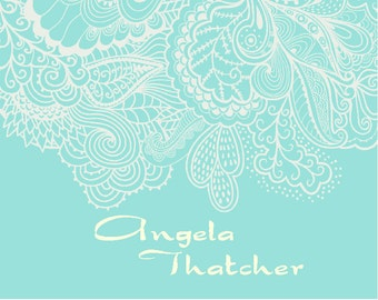 Personalized Aqua Blue Note Cards, Ornamental Lace Stationery Set, Christmas Gift, Thank You Cards, Stationary Set, Lace Notecards, Custom
