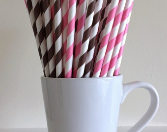 Pink and Brown Striped Paper Straws Cowgirl Theme Party Supplies Party Decor Bar Cart Cake Pop Sticks Mason Jar Straws Graduation