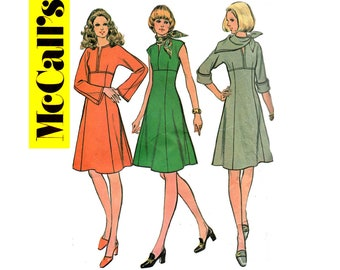 McCall's 3393 Womens High Waisted Dress with Sleeve Variations, Matching Scarf 70s Vintage Sewing Pattern Size 14 Bust 36 inches